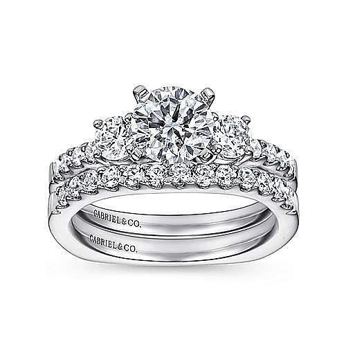 Chloe 14k White Gold Round 3 Stones Engagement Ring angle 4
