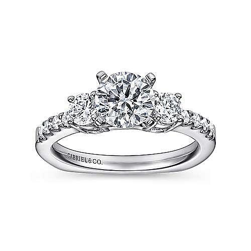 Chloe 14k White Gold Round 3 Stones Engagement Ring angle 5