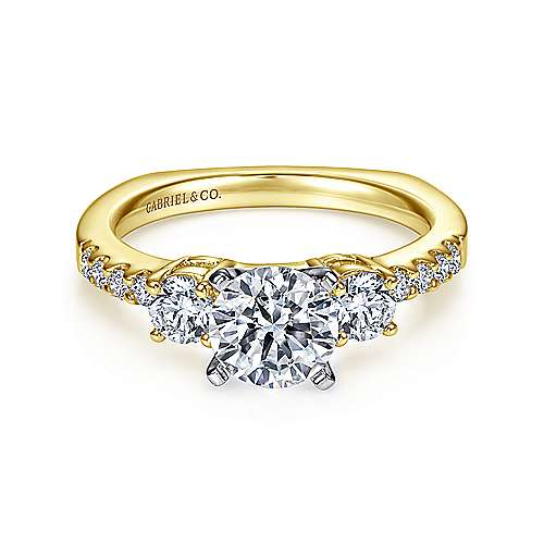 Chloe 14k Yellow And White Gold Round 3 Stones Engagement Ring angle 1