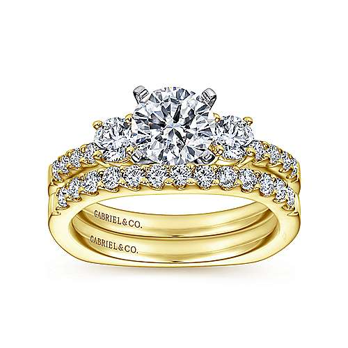 Chloe 14k Yellow And White Gold Round 3 Stones Engagement Ring angle 4