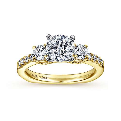 Chloe 14k Yellow And White Gold Round 3 Stones Engagement Ring angle 5