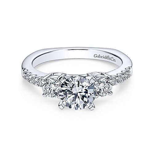 Gabriel - Chloe 18k White Gold Round 3 Stones Engagement Ring