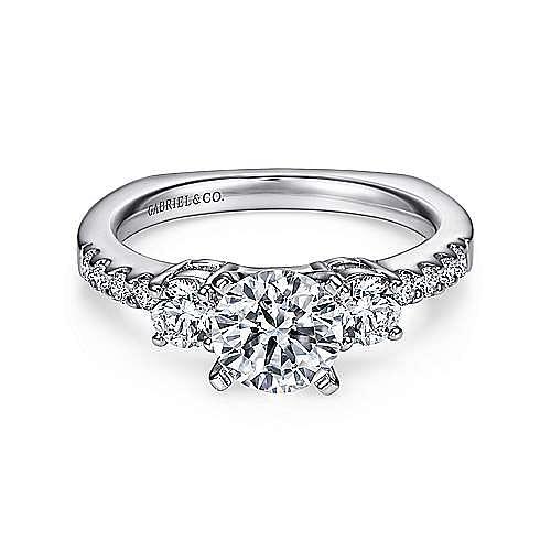 Gabriel - Chloe Platinum Round 3 Stones Engagement Ring