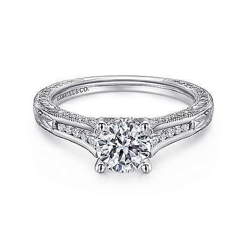 Gabriel - Chrissy 14k White Gold Round Straight Engagement Ring