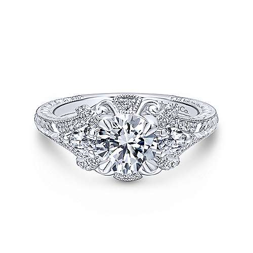 Gabriel - Chrystie 14k White Gold Round 3 Stones Halo Engagement Ring