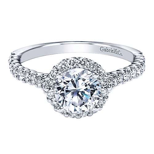 Gabriel - Ciara 14k White Gold Round Halo Engagement Ring