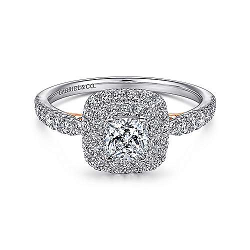Gabriel - Claire 14k White And Rose Gold Cushion Cut Halo Engagement Ring