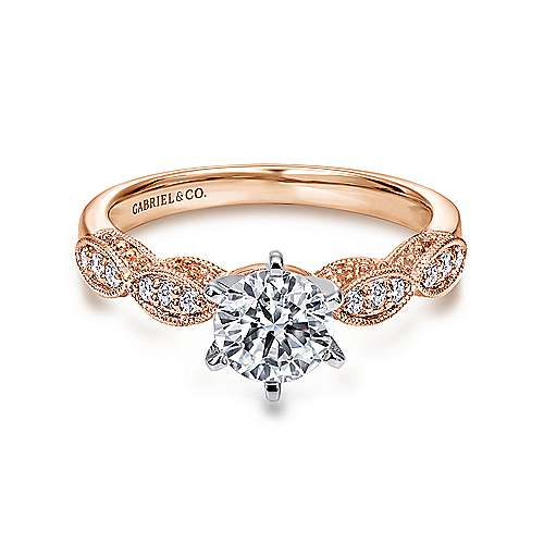 Clara 14k White And Rose Gold Round Straight Engagement Ring angle 1