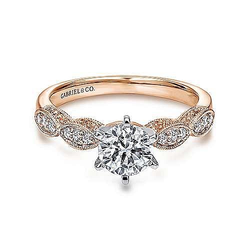 Gabriel - Clara 14k White And Rose Gold Round Straight Engagement Ring