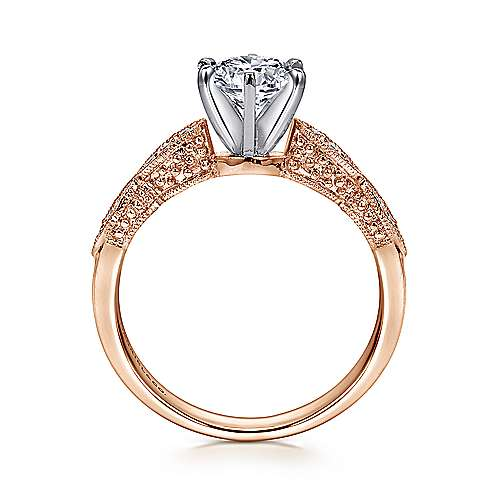 Clara 14k White And Rose Gold Round Straight Engagement Ring angle 2