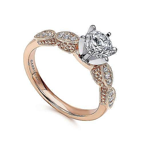 Clara 14k White And Rose Gold Round Straight Engagement Ring angle 3