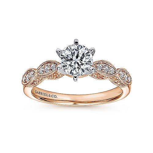 Clara 14k White And Rose Gold Round Straight Engagement Ring angle 5
