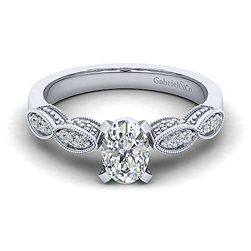 Gabriel - Clara 14k White Gold Oval Straight Engagement Ring