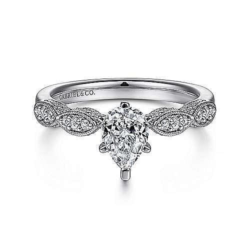 Gabriel - Clara 14k White Gold Pear Shape Straight Engagement Ring