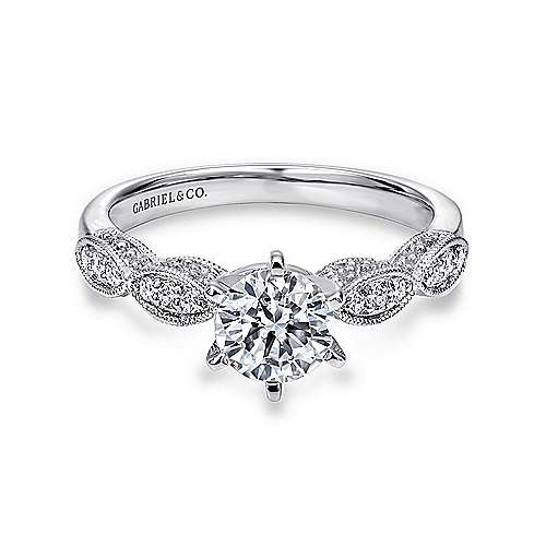 Gabriel - Clara 14k White Gold Round Straight Engagement Ring