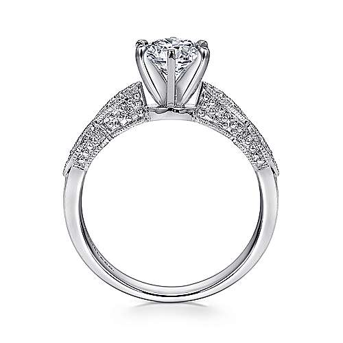Clara 14k White Gold Round Straight Engagement Ring