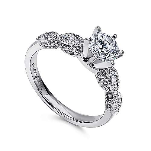 Clara 14k White Gold Round Straight Engagement Ring angle 3