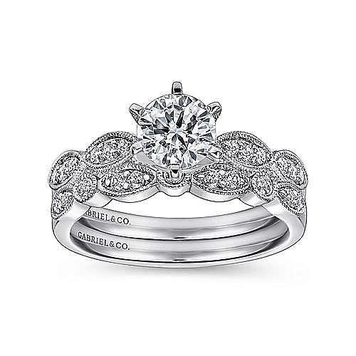 Clara 14k White Gold Round Straight Engagement Ring angle 4