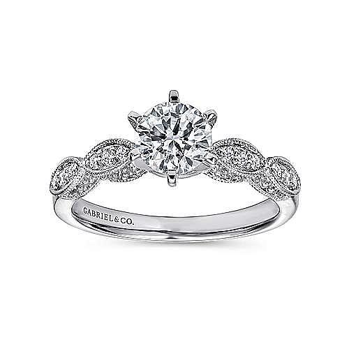 Clara 14k White Gold Round Straight Engagement Ring angle 5