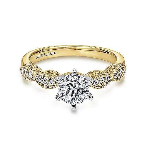 Gabriel - Clara 14k Yellow And White Gold Round Straight Engagement Ring