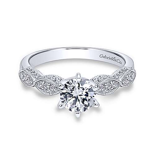Gabriel - Clara 18k White Gold Round Straight Engagement Ring