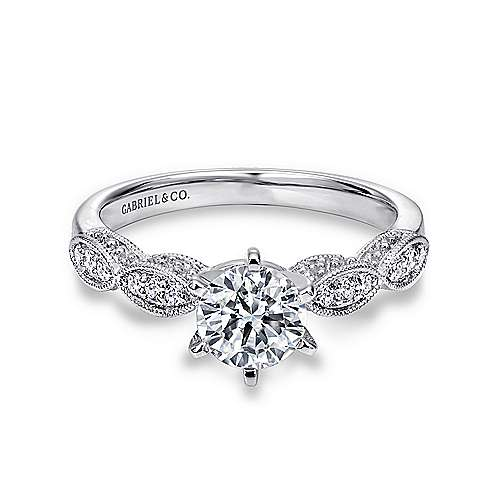 Gabriel - Clara Platinum Round Straight Engagement Ring