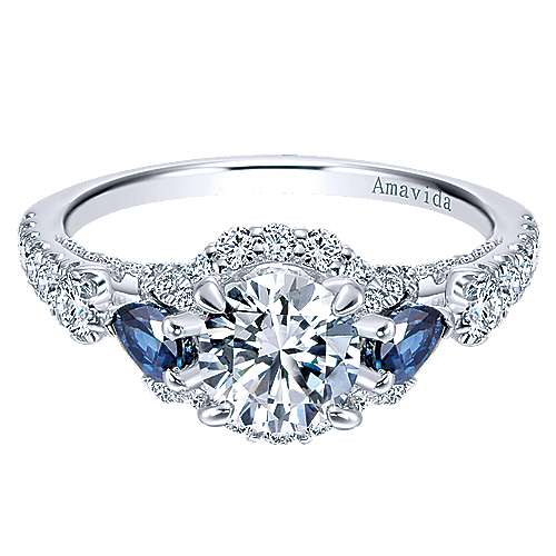 Gabriel - Clarity 18k White Gold Round 3 Stones Halo Engagement Ring