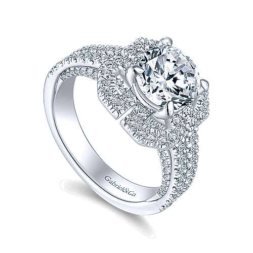 Clayton 14k White Gold Round Halo Engagement Ring angle 3