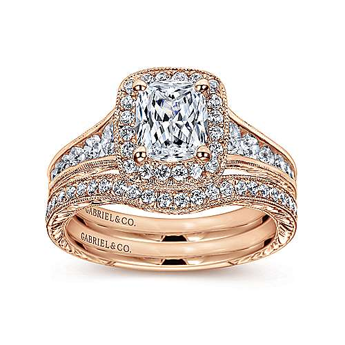 Clementine 14k Rose Gold Cushion Cut Halo Engagement Ring angle 4