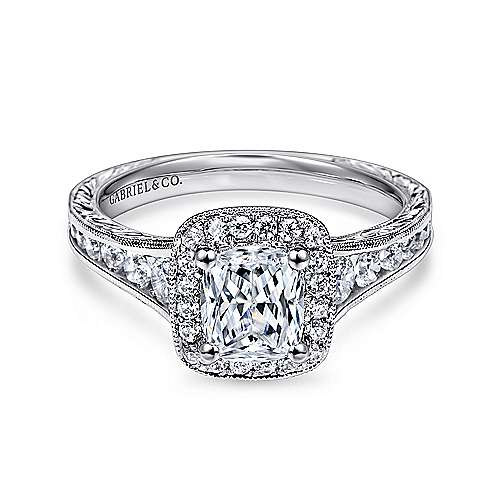 Gabriel - Clementine 14k White Gold Cushion Cut Halo Engagement Ring