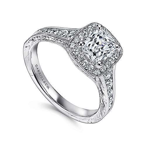 Clementine 14k White Gold Cushion Cut Halo Engagement Ring angle 3