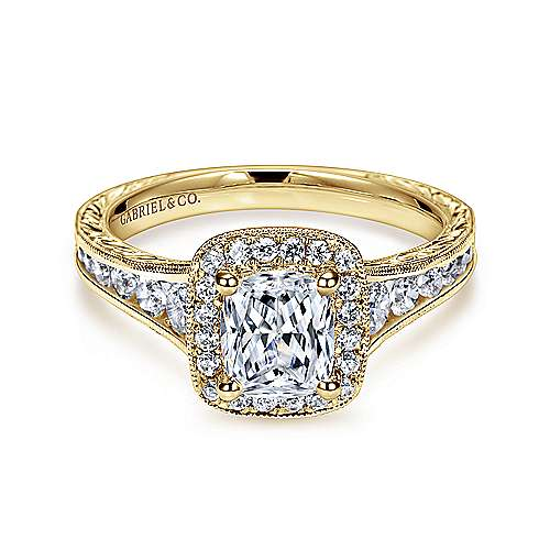 Gabriel - Clementine 14k Yellow Gold Cushion Cut Halo Engagement Ring