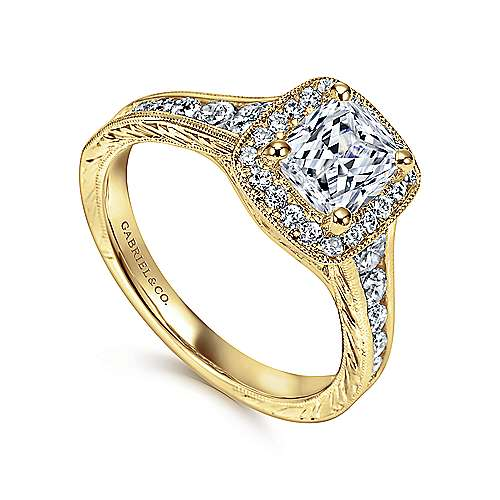 Clementine 14k Yellow Gold Cushion Cut Halo Engagement Ring angle 3