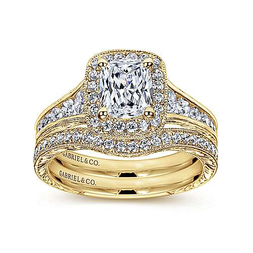 Clementine 14k Yellow Gold Cushion Cut Halo Engagement Ring angle 4