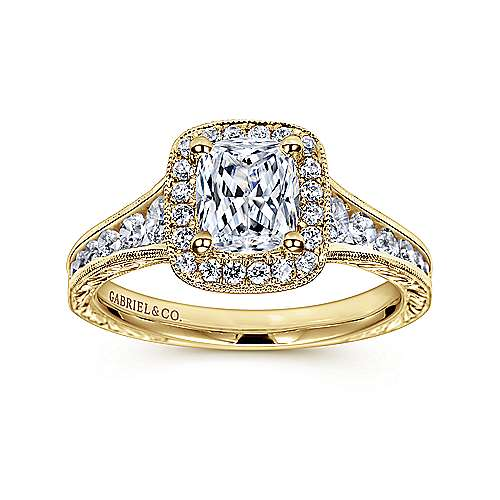Clementine 14k Yellow Gold Cushion Cut Halo Engagement Ring angle 5