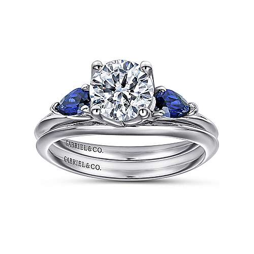 Cleo 18k White Gold Round 3 Stones Engagement Ring angle 4