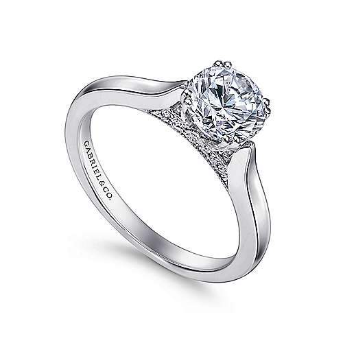 Cleopatra 18k White Gold Round Solitaire Engagement Ring angle 3