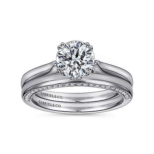 Cleopatra 18k White Gold Round Solitaire Engagement Ring angle 4