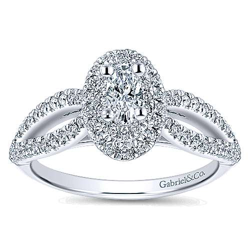 Clinton 14k White Gold Oval Double Halo Engagement Ring angle 5