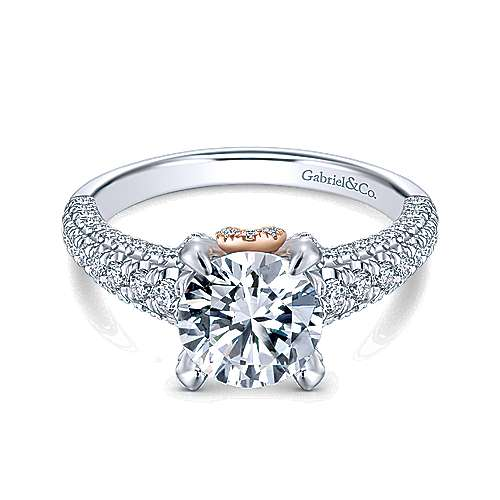 Clover 18k White And Rose Gold Round Straight Engagement Ring angle 1