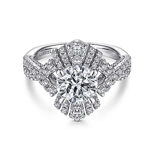 Gabriel - Clyde 18k White Gold Round Twisted Engagement Ring