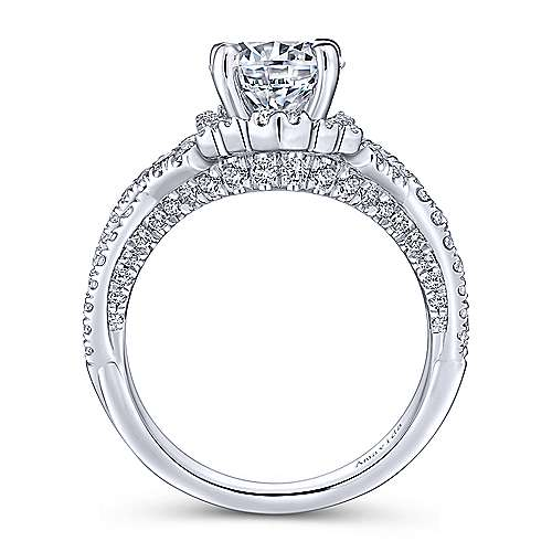 Clyde 18k White Gold Round Twisted Engagement Ring angle 2
