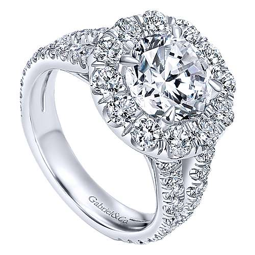 Coco 18k White Gold Round Halo Engagement Ring angle 3