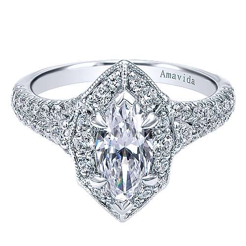 Gabriel - Colby 18k White Gold Marquise  Halo Engagement Ring