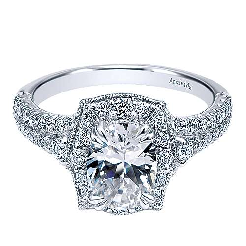 Gabriel - Colby 18k White Gold Oval Halo Engagement Ring