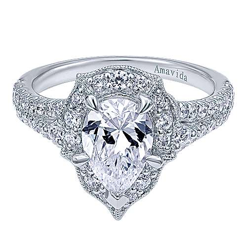Gabriel - Colby 18k White Gold Pear Shape Halo Engagement Ring