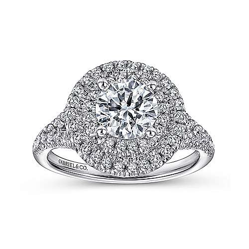 Colette 14k White Gold Round Double Halo Engagement Ring angle 5