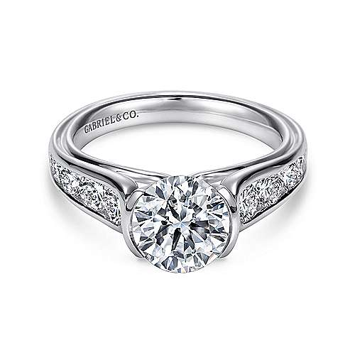 Gabriel - Colton 14k White Gold Round Straight Engagement Ring