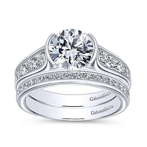 Colton 14k White Gold Round Straight Engagement Ring angle 4
