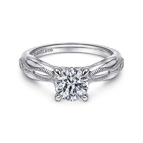 Commit 18k White Gold Round Split Shank Engagement Ring angle 1